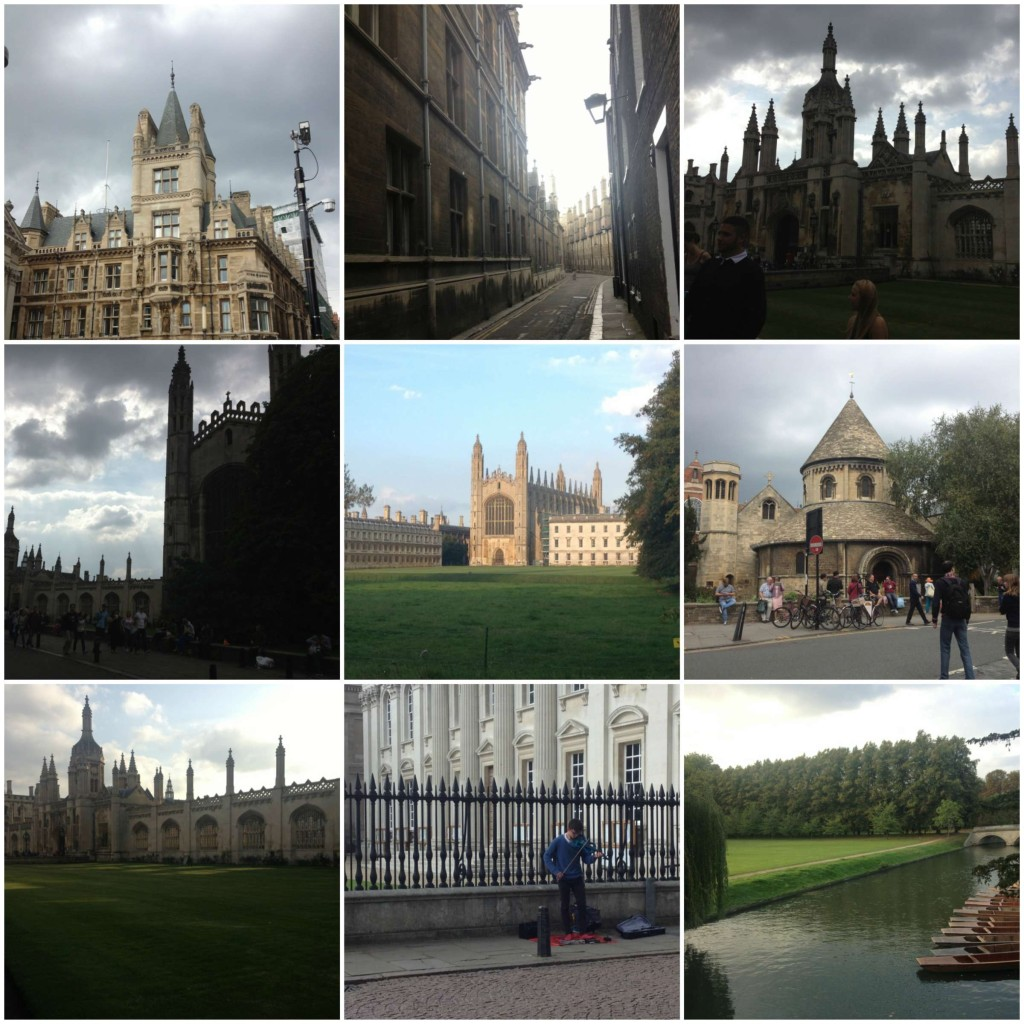 Buildings in Cambridge, centuries-old streets, Kings College, the Round Church, a fellow busker, and the gorgeous Cam