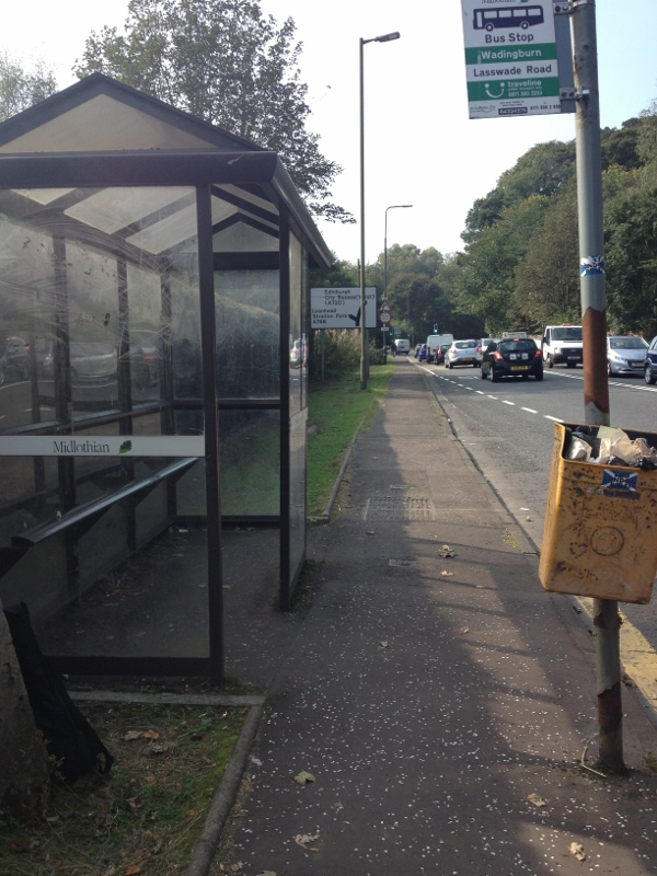 Bus Stop outside Edinburgh where I waited for an hour and entertained folks driving by with my ukulele practicing