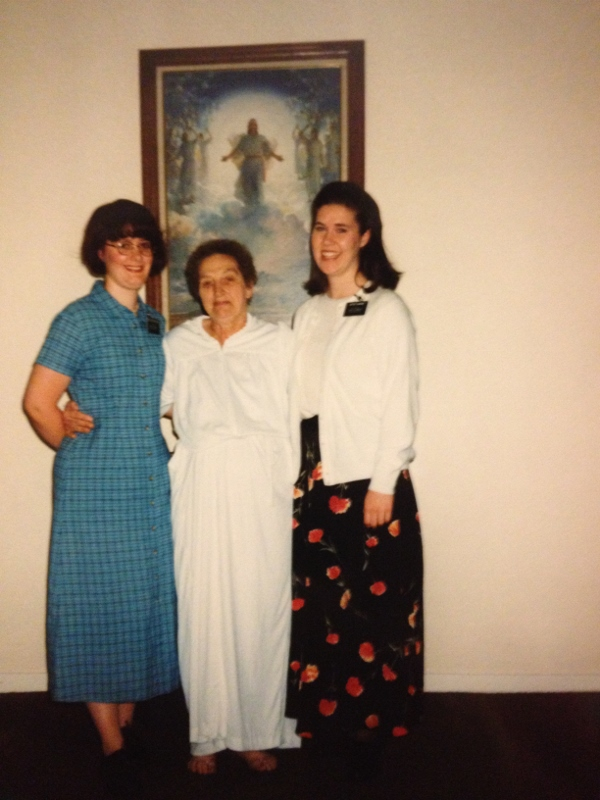 Zoe and Ruth with Joan, whom I taught on my mission.